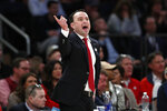 Indiana head coach Archie Miller yells during the first half of an NCAA college basketball game against Connecticut in the Jimmy V Classic, Tuesday, Dec. 10, 2019, in New York. (AP Photo/Kathy Willens)