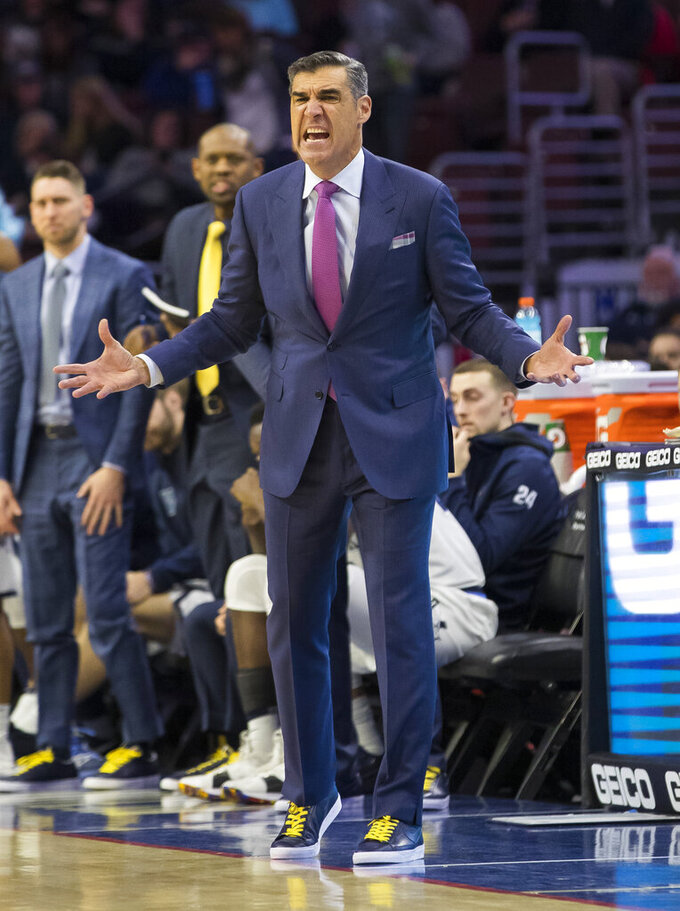 Villanova head coach Jay Wright reacts during the second half of an NCAA college basketball game against Seton Hall, Sunday, Jan. 27, 2019, in Philadelphia. (AP Photo/Chris Szagola)