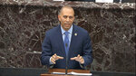 In this image from video, House impeachment manager Rep. Hakeem Jeffries, D-N.Y., speaks during the impeachment trial against President Donald Trump in the Senate at the U.S. Capitol in Washington, Wednesday, Jan. 22, 2020. (Senate Television via AP)
