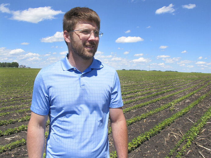 In this Tuesday, June 25, 2019, photo, farmer Matthew Keller walks in his soybean field near Kenyon, Minn. When the Trump administration announced a $12 billion aid package for farmers struggling under the financial strain of his trade dispute with China, the payments were capped. But records obtained by The Associated Press under the Freedom of Information Act show that many large farming operations easily found legal ways around the limits to collect big checks. Recipients who spoke to AP defended the payouts, saying they didn't even cover their losses under the trade war and that they were legally entitled to them. Keller, a pork producer in Kenyon, who also grows crops to feed his livestock, said he