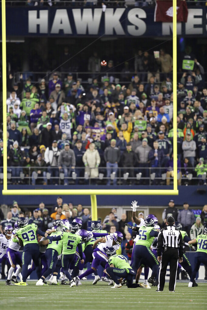 Seattle Seahawks' Jason Myers (5) kicks a field goal against the Minnesota Vikings during the second half of an NFL football game, Monday, Dec. 2, 2019, in Seattle. (AP Photo/John Froschauer)