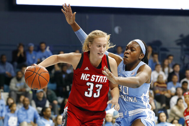 North Carolina State center Elissa Cunane (33) drives to the basket while North Carolina center Janelle Bailey (30) defends during the first half of an NCAA college basketball game in Chapel Hill, N.C., Thursday, Jan. 9, 2020. (AP Photo/Gerry Broome)