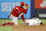 New York Yankees' Estevan Florial steals second base ahead of a throw to Philadelphia Phillies shortstop Didi Gregorius during the seventh inning of a baseball game Wednesday, July 21, 2021, in New York. (AP Photo/Adam Hunger)