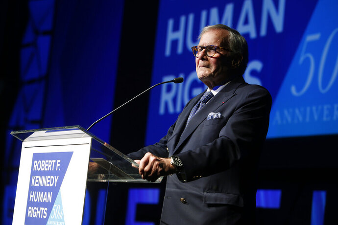 FILE - In this Dec. 12, 2018, file photo, journalist Tom Brokaw speaks during the Robert F. Kennedy Human Rights Ripple of Hope Awards ceremony in New York. Brokaw says he feels terrible that he offended some Hispanics with his comments on