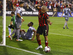 Atlanta United foward Josef Martinez reacts to his goal against C.S. Herediano during a CONCACAF Champions League soccer match Thursday, Feb. 28, 2018, in Kennesaw, Ga. (Curtis Compton/Atlanta Journal Constitution via AP)