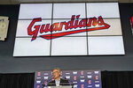 Cleveland Indians owner Paul Dolan speaks to the media during a news conference, Friday, July 23, 2021, in Cleveland. Known as the Indians since 1915, Cleveland's Major League Baseball team will be called Guardians. The ballclub announced the name change Friday, effective at the end of the 2021 season. (AP Photo/Tony Dejak)