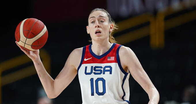 United States' Breanna Stewart (10) drives up court during women's basketball semifinal game against Serbia at the 2020 Summer Olympics, Friday, Aug. 6, 2021, in Saitama, Japan. (AP Photo/Eric Gay)