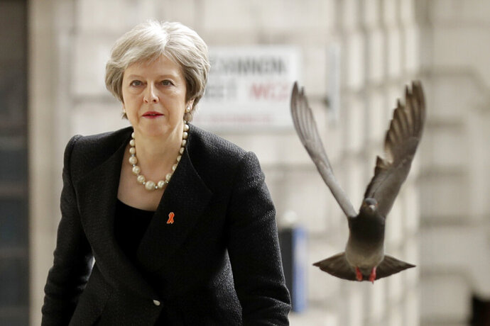 FILE - In this Monday, April 23, 2018 file photo a pigeon takes off as Britain's Prime Minister Theresa May arrives to attend a Memorial Service to commemorate the 25th anniversary of the murder of black teenager Stephen Lawrence at St Martin-in-the-Fields church in London. (AP Photo/Matt Dunham, File)