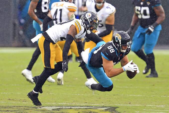 Jacksonville Jaguars tight end Tyler Eifert (88) catches a pass in front of Pittsburgh Steelers cornerback Cameron Sutton, left, during the second half of an NFL football game, Sunday, Nov. 22, 2020, in Jacksonville, Fla. (AP Photo/Matt Stamey)