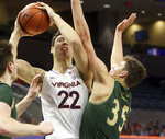 Virginia center Francisco Caffaro (22) is fouled by William & Mary forward Ben Wight (35) during an NCAA college basketball  game Tuesday, Dec. 22, 2020, in Charlottesville, Va. (Andrew Shurtleff/The Daily Progress via AP)