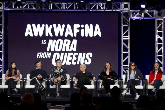 Awkwafina, from left, BD Wong, Bowen Yang, Lori Tan Chinn, Lucia Aniello, Karey Dornetto and Teresa Hsiao speak at the