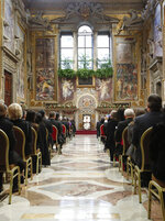 Pope Francis delivers his message during an audience with members of the Diplomatic Corps accredited to the Holy See during the traditional exchange of New Year greetings at the Vatican, Thursday, Jan. 9, 2020. (Remo Casilli/Pool photo Via AP)