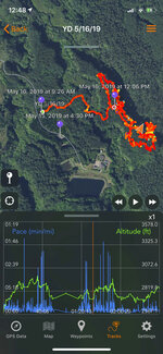 This May 19, 2019, screenshot of a cell phone screen provided by Yesenia D'Alessandro shows the route, as measured by the cellphone's GPS, taken by a volunteer who was searching for Amanda Eller, a yoga teacher and physical therapist who went missing during a hike in Haiku, Hawaii. The dramatic rescue of a hiker lost for more than two weeks in a remote Hawaii forest is showing how emerging technology is helping search teams more efficiently scour the wilderness for missing people. (Courtesy of Yesenia D'Alessandro via AP)