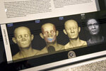 Detail of the facial depiction process for the Cohen mummy at the new Johns Hopkins Archaeological Museum exhibit,