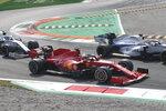 Ferrari driver Sebastian Vettel of Germany steers his car during the Italian Formula One Grand Prix, at the Monza racetrack in Monza, Italy, Sunday Sept. 6, 2020. (Matteo Bazzi, Pool via AP)