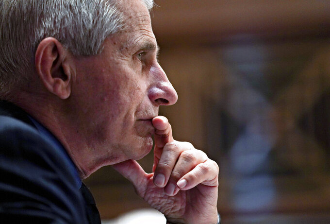 Dr. Anthony Fauci, director of the National Institute of Allergy and Infectious Diseases, listens during a Senate Appropriations Subcommittee hearing Wednesday, May 26, 2021, on Capitol Hill in Washington. (Stefani Reynolds/Pool via AP)