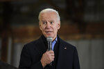 Democratic presidential candidate and former Vice President Joe Biden speaks at an oyster roast campaign event on Sunday, Jan. 19, 2020, in Orangeburg, S.C. (AP Photo/Meg Kinnard)