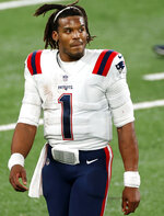 New England Patriots quarterback Cam Newton (1) is shown after an NFL football game against the New York Jets, Monday, Nov. 9, 2020, in East Rutherford, N.J. Old school and new school will collide when the Patriots host the Ravens. (AP Photo/Adam Hunger)