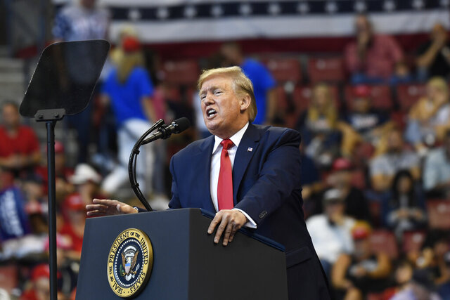 In this Nov. 26, 2019, photo, resident Donald Trump speaks at a campaign rally in Sunrise, Fla. (AP Photo/Susan Walsh)