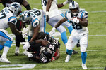 Carolina Panthers running back Mike Davis (28) runs against the Atlanta Falcons during the second half of an NFL football game, Sunday, Oct. 11, 2020, in Atlanta. (AP Photo/John Bazemore)