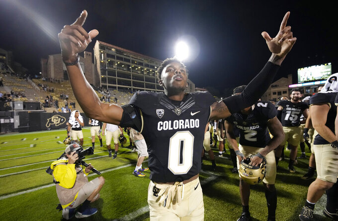 Colorado safety Chris Miller celebrates after the team's 35-7 win over Northern Colorado in an NCAA college football game Friday, Sept. 3, 2021, in Boulder, Colo. (AP Photo/David Zalubowski)