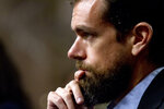 FILE - In this Sept. 5, 2018, file photo Twitter CEO Jack Dorsey testifies before a Senate Intelligence Committee hearing in Washington.