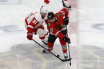 Detroit Red Wings center Frans Nielsen, left, and Chicago Blackhawks defenseman Adam Boqvist battle for the puck during the first period of an NHL hockey game in Chicago, Sunday, Jan. 5, 2020. (AP Photo/Nam Y. Huh)