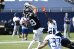 Jacksonville Jaguars tight end Tyler Eifert (88) catches a touchdown pass against the Tennessee Titans in the first half of an NFL football game Sunday, Sept. 20, 2020, in Nashville, Tenn. (AP Photo/Mark Zaleski)