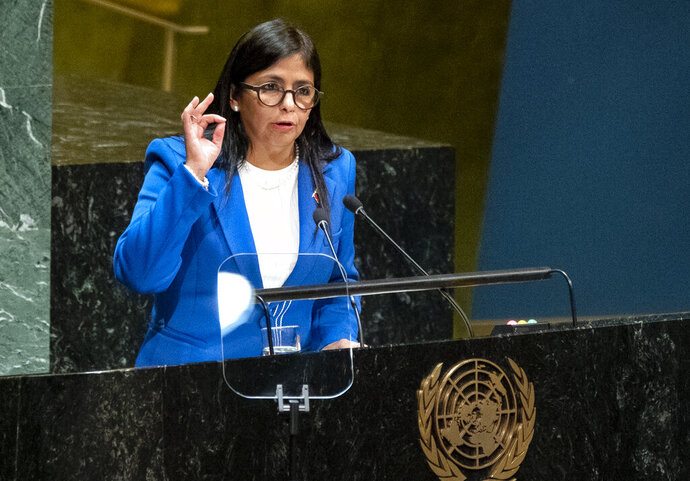 FILE - In this Sept. 27, 2019 file photo, Vice President of Venezuela Delcy Rodriguez addresses the 74th session of the United Nations General Assembly, at the United Nations headquarters. A secretive meeting this week at Madrid's international airport between two prominent officials from Spain and Rodriguez triggered a political storm on Jan. 23, 2020, with conservative parties pressing Spain's left-wing government for full disclosure. (AP Photo/Craig Ruttle, File)