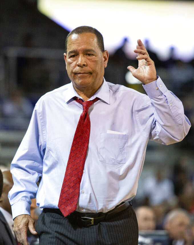Houston Head Coach Kelvin Sampson reacts to a call during the first half of an NCAA college basketball game against East Carolina in Greenville, N.C., Wednesday, Feb. 27, 2019. (AP Photo/Ben McKeown)