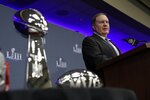 New England Patriots head coach Bill Belichick answers questions at a news conference for the NFL Super Bowl 53 football game Monday, Feb. 4, 2019, in Atlanta. The Patriots beat the Los Angeles Rams 13-3. (AP Photo/David J. Phillip)