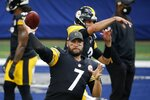 Pittsburgh Steelers quarterback Ben Roethlisberger (7) warms up before an NFL football game against the Dallas Cowboys in Arlington, Texas, Sunday, Nov. 8, 2020. (AP Photo/Michael Ainsworth)