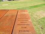 This April 28, 2018 photo shows a marker at the National Memorial for Peace and Justice in Montgomery, Ala., showcasing some of the U.S. states outside the South where racial terror lynchings took place. The new memorial documents more than 4,400 killings that took place between 1877 and 1950. While most of these lynchings took place in the South and in states bordering the South, lynchings in other parts of the country are documented as well. (AP Photo/Beth J. Harpaz)