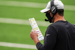 New York Jets head coach Adam Gase works the sidelines during the first half of an NFL football game against the Arizona Cardinals, Sunday, Oct. 11, 2020, in East Rutherford. (AP Photo/Seth Wenig)
