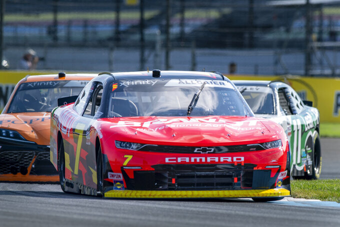 Justin Allgaier (7) during practice for the NASCAR Xfinity Series auto race at Indianapolis Motor Speedway, Friday, Aug. 13, 2021, in Indianapolis. (AP Photo/Doug McSchooler)