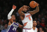 Sacramento Kings guard Buddy Hield (24) and New York Knicks center DeAndre Jordan (6) battle for a rebound during the second quarter of an NBA basketball game, Saturday, March 9, 2019, in New York. (AP Photo/Julie Jacobson)