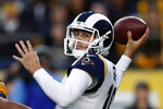 Los Angeles Rams quarterback Jared Goff looks to throw a pass during the first half of an NFL football game against the Pittsburgh Steelers in Pittsburgh, Sunday, Nov. 10, 2019. (AP Photo/Keith Srakocic)