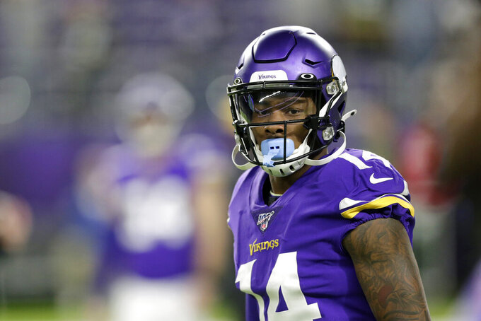 FILE - In this Dec. 23, 2019, file photo, Minnesota Vikings wide receiver Stefon Diggs warms up before an NFL football game against the Green Bay Packers in Minneapolis. Vikings general manager Rick Spielman's biggest move this off-season was trading Diggs to Buffalo for draft picks, giving the Vikings three extra selections this weekend including the 22nd overall choice in the first round.(AP Photo/Andy Clayton-King, File)