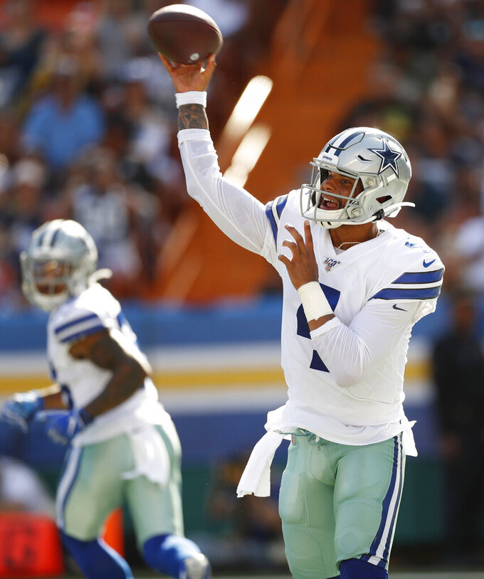 Dallas Cowboys quarterback Dak Prescott throws a pas against the Los Angeles Rams during the first quarter of a preseason NFL football game Saturday, Aug. 17, 2019, in Honolulu. (AP Photo/Marco Garcia)