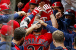 Minnesota Twins' Josh Donaldson celebrates his solo home run against the Detroit Tigers in the first inning of the first game of a baseball doubleheader Friday, Sept. 4, 2020, in Minneapolis. (AP Photo/Bruce Kluckhohn)