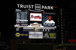 The scoreboard shows the final score in the Atlanta Braves' 29-9 win over the Miami Marlins in a baseball game Wednesday, Sept. 9, 2020, in Atlanta. (AP Photo/Brynn Anderson)