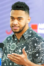 Alabama quarterback Tua Tagovailoa announces his intentions to declare for the 2020 NFL football draft, Monday, Jan. 6, 2020, in Tuscaloosa, Ala. (AP Photo/Vasha Hunt)