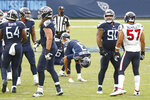 Tennessee Titans kicker Stephen Gostkowski (3) reacts after missing a 37-yard field goal against the Houston Texans in the second half of an NFL football game Sunday, Oct. 18, 2020, in Nashville, Tenn. (AP Photo/Wade Payne)