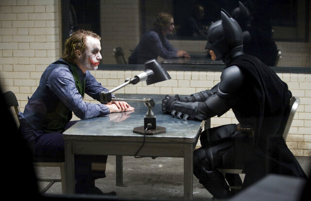This image released by the Library of Congress shows Heath Ledger, left, and Christian Bale in a scene from the 2008 film