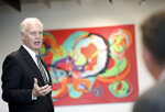U.S. Sen. Ron Johnson, R-Wis., meets with the Middleton Chamber of Commerce at Serendipity Labs in Madison, Wis., Thursday, Oct. 3, 2019. Johnson Thursday that there was nothing wrong with President Donald Trump asking China and the Ukraine to investigate former Democratic Vice President Joe Biden and his son. (Amber Arnold/Wisconsin State Journal via AP)