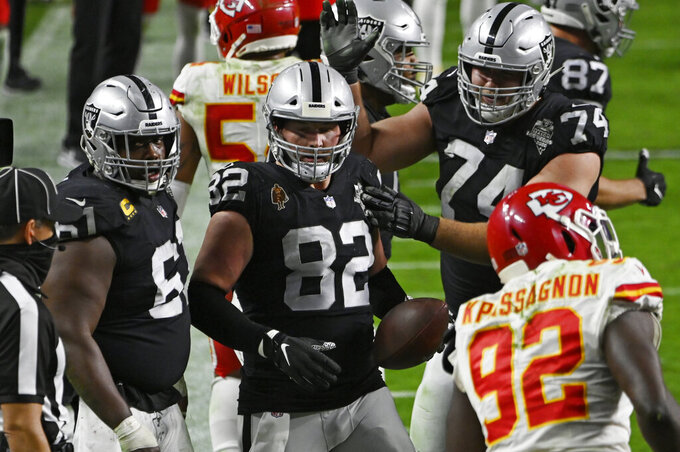 Las Vegas Raiders tight end Jason Witten (82) celebrates after scoring a touchdown against the Kansas City Chiefs during the second half of an NFL football game, Sunday, Nov. 22, 2020, in Las Vegas. (AP Photo/David Becker)