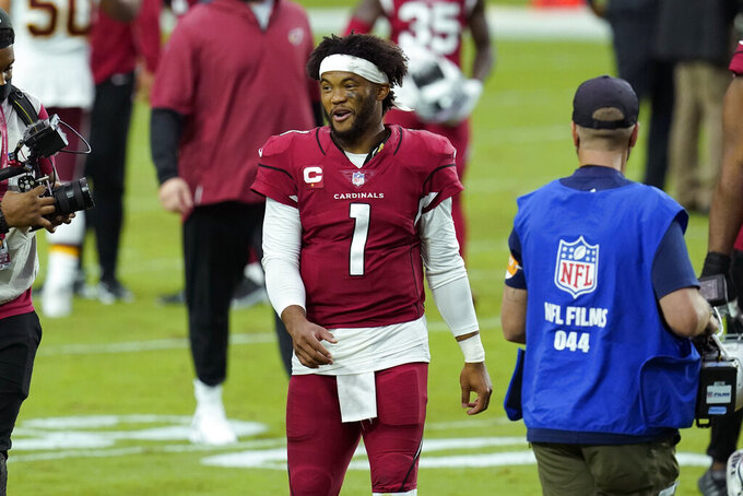 Arizona Cardinals quarterback Kyler Murray (1) leaves the field after an NFL football game against the Washington Football Team, Sunday, Sept. 20, 2020, in Glendale, Ariz. The Cardinals won 30-15. (AP Photo/Ross D. Franklin)
