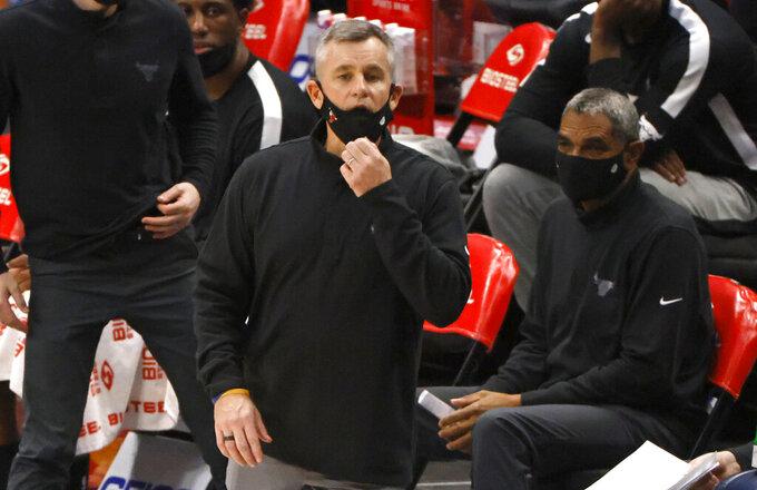 Chicago Bulls head coach Billy Donovan looks on as the Bulls play the Dallas Mavericks during the second half of an NBA basketball game, Sunday, Jan. 17, 2021, in Dallas. The Bulls won 117-101. (AP Photo/Ron Jenkins)