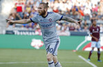 Chicago Fire forward Aleksandar Katai reacts after scoring a goal past Colorado Rapids goalkeeper Tim Howard during the first half of an MLS soccer match Wednesday, June 13, 2018, in Commerce City, Colo. (AP Photo/David Zalubowski)
