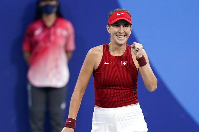 Belinda Bencic, of Switzerland, reacts after defeating Jessica Pegula, of the United States, during the tennis competition at the 2020 Summer Olympics, Saturday, July 24, 2021, in Tokyo, Japan. (AP Photo/Patrick Semansky)